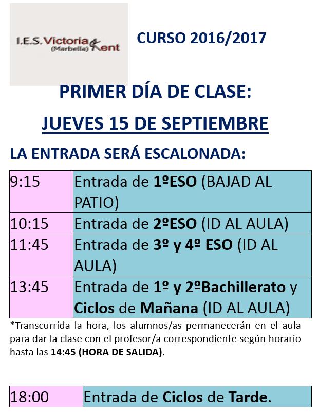 PRIMER DÍA DE CLASE 15-09-2016