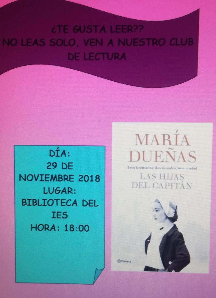 cartel del club de lectura noviembre